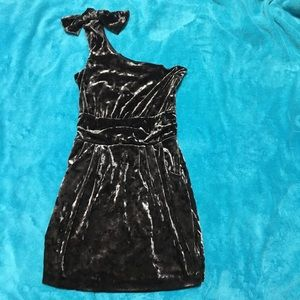 Guess mini 1-shoulder shiny velveteen dress